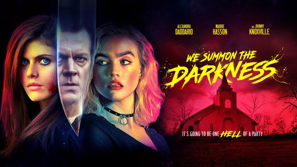 Tonight's #LateNightHorror suggestion: WE SUMMON THE DARKNESS, in which three friends take three musicians home during the satanic panic era. A fantastic cast led by Alexandra Daddario with a unique take on the era, this twisty film is a total blast.  Now streaming on Netflix! pic.twitter.com/3jB9W0C537