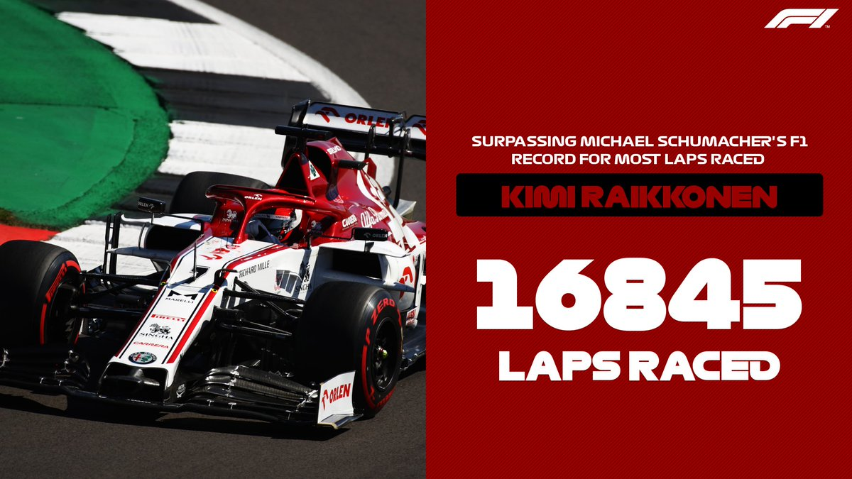 RECORD BREAKER 😎  Kimi has now raced more laps than any other driver in F1 history 👀  #F170 🇬🇧 #F1 https://t.co/2X8NbW8ebF