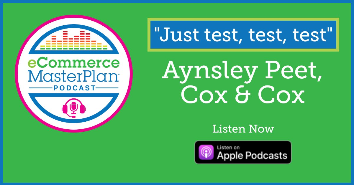 New episode!  This week's guest is Aynsley Peet – Aynsley is the head of eCommerce at @coxandcoxuk, a homewares retailer. The company was founded in 2001 and sales are now close to £20 million per year. Huge thanks to Aynsley for joining us! #ecommasterplanpic.twitter.com/Aq3GrwlpEJ