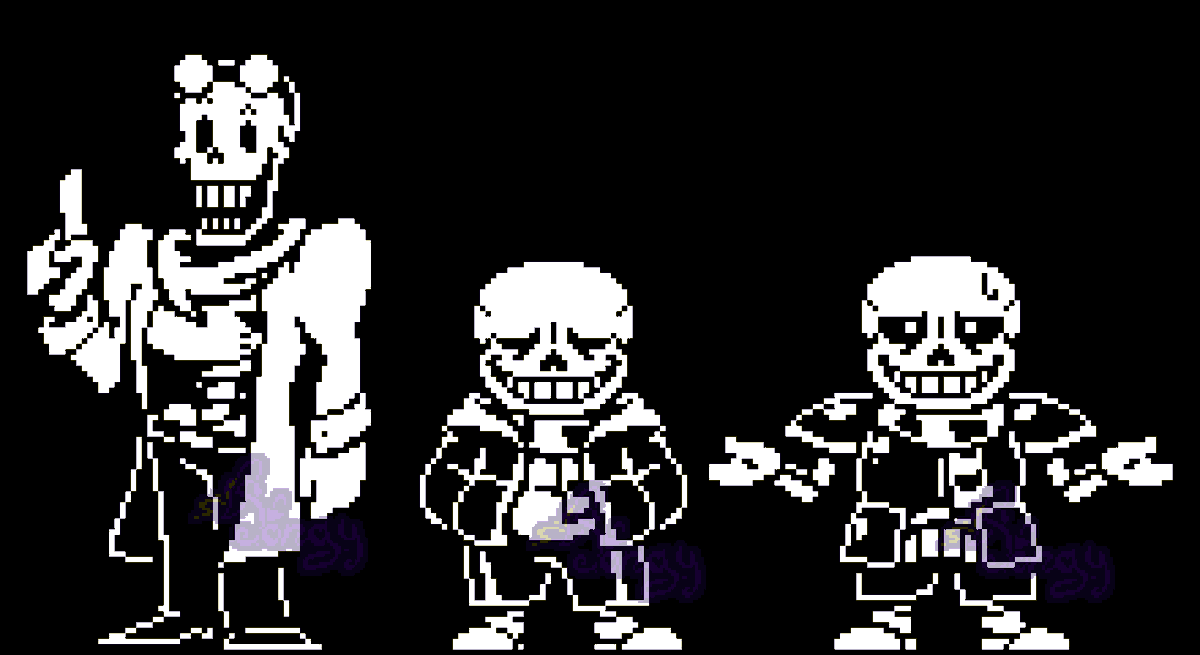 Pongy On Twitter Since I Made That Inverted Fate Papyrus Art Recently I Wanted To Make My Headcanon Version Of Sans As Well So Here They Are As Battle Sprites Not Canon