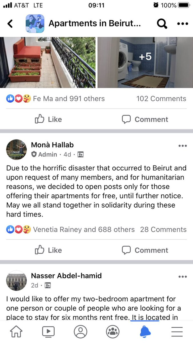 A wonderful Facebook group is offering rent-free apartments in Beirut for those who lost theirs is the blast https://t.co/ZJn0rDybJd https://t.co/qzNJW9mRUB