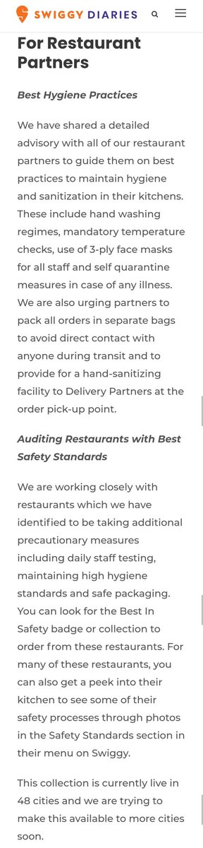 Megha, advising restaurants is not relevant Im asking how does @swiggy_in award a restaurant the 'best safety' badge? And how often does @swiggy_in check whether these standards/ advisments are met? This is not provided on the link.pic.twitter.com/7CZ3pz3xfb