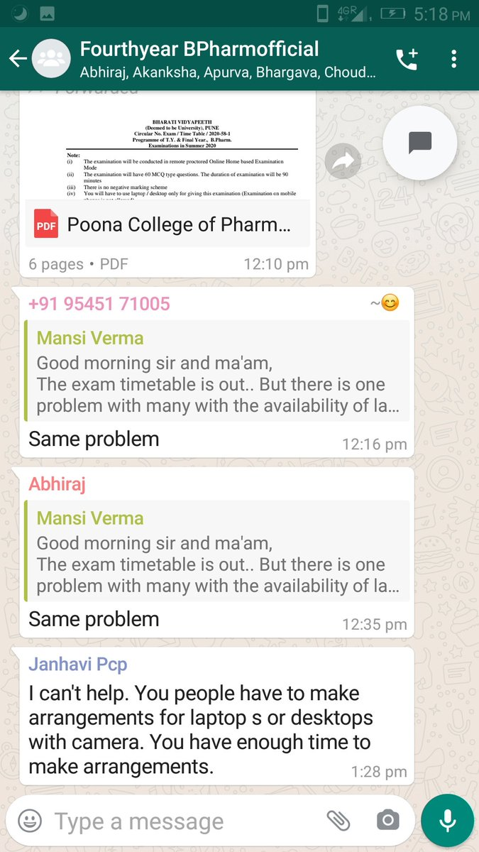 Poona college of pharmacy taking exam . And say laptop and computer compulsory video calling. But some student doesn't have the laptop and computer . I send this screenshot read the last paragraph .... pic.twitter.com/8LuRLfMFym