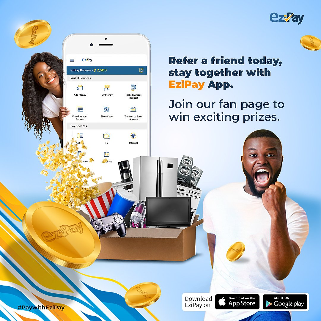 ... A life of wins with Ezipay ❗  Share the wins with your loved ones, refer a friend now... 💯  Install Ezipay here: https://t.co/X2Nfulyu9Y  #ezipay  #mobilewallet  #mobilemoney  #paymentgateway  #paywithezipay https://t.co/NkpowlhQQM