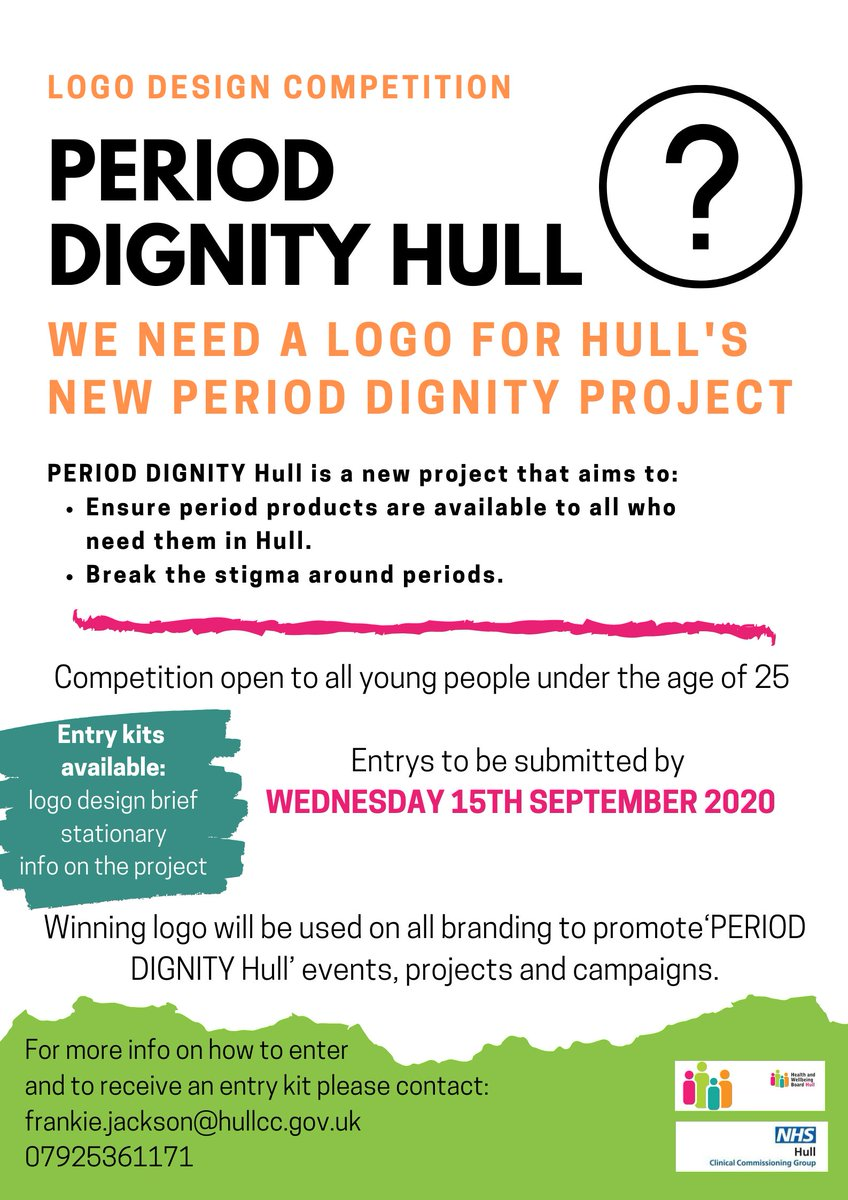 'Period dignity Hull' logo design competition for under 25's! We are looking to you to create a logo for our new 'period dignity project' to provide period products to all who need them. Great prizes for 1st place and runners up 🏆 For more info 📨Frankie.jackson@hullcc.gov.uk