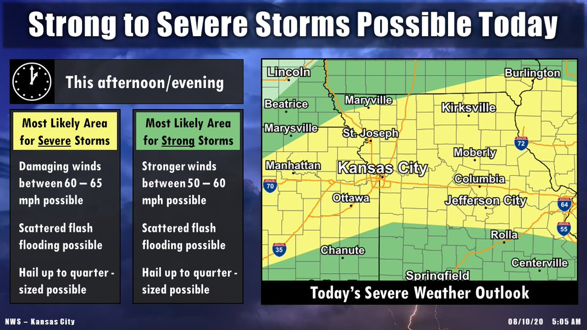 Make sure to stay weather aware today...   Strong to severe storms are possible this afternoon/evening across the area.   Main concerns are damaging winds and flash flooding, with some hail possible too.   Flash flooding concerns may continue overnight as well. #mowx #kswx #kcwx https://t.co/hMaEFdRTCd