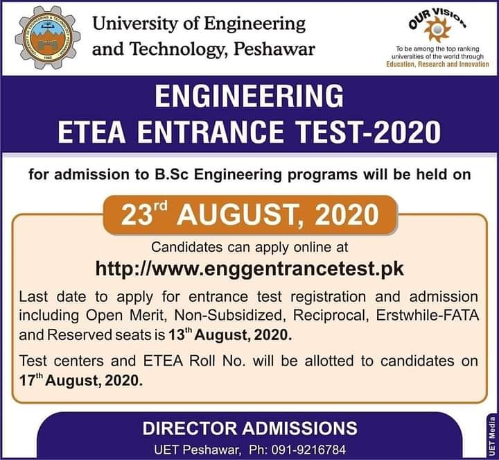 #Uet #ETEA #ETEA2020 #Engineering   Engineering ETEA Entrance Test 2020 , for admissions in BSc Engineering programs to be held On  23rd August,  2020  #WaziristanPubliclLibrary #Peshawar #UniversityOfEngineeringTechnologyPeshawar  #ETEATest2020pic.twitter.com/iXVsTiHgQF