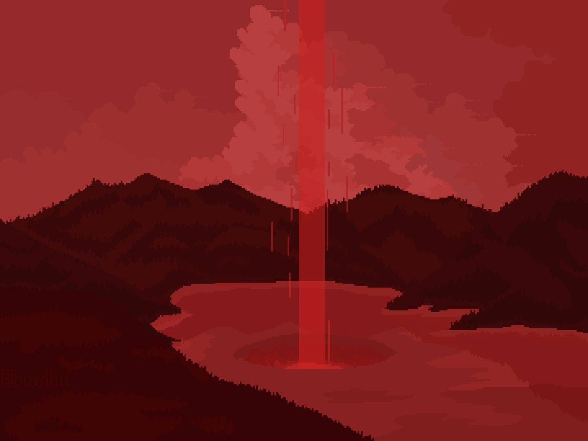 """""""From the lake came a large crater, from which a bright red beam of light emerged and shined through the heavens. Thus, painting the land a bright red.""""  -Red  #pixelart #aseprite https://twitter.com/boxdboi/status/1292771654750224385…pic.twitter.com/dMRtbcnmMV"""