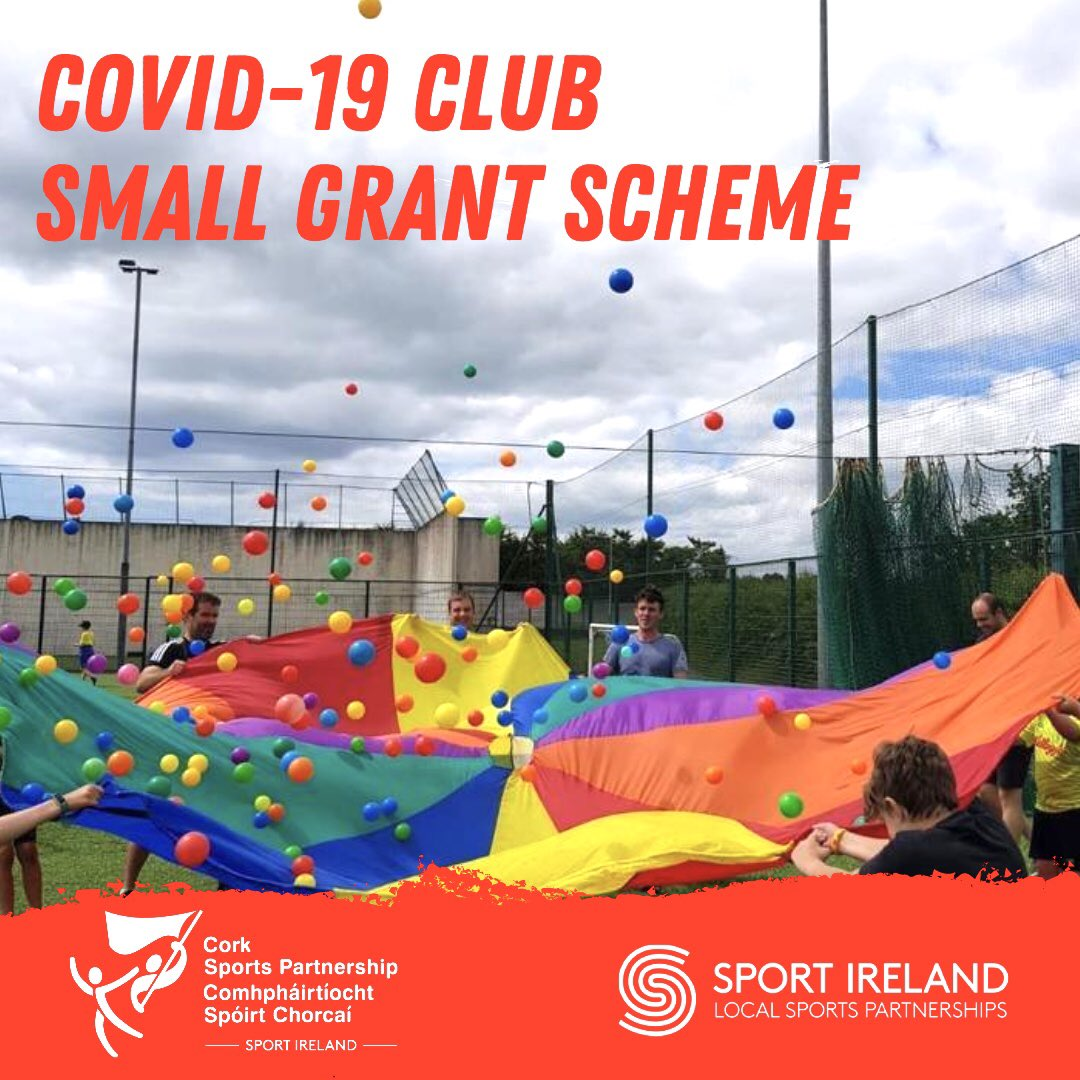 📢 COVID-19 Club Small Grant Scheme 📢  Sports clubs throughout Cork can now apply for COVID-19 Club Small Grants of up to €1,500 through @CorkSports Partnership.  ⏱ Closing Date: 5pm on Friday 4th September  ℹ️ See https://t.co/NuOGh29d04 for more info.   #Inthistogether https://t.co/UgbvGt2qfp