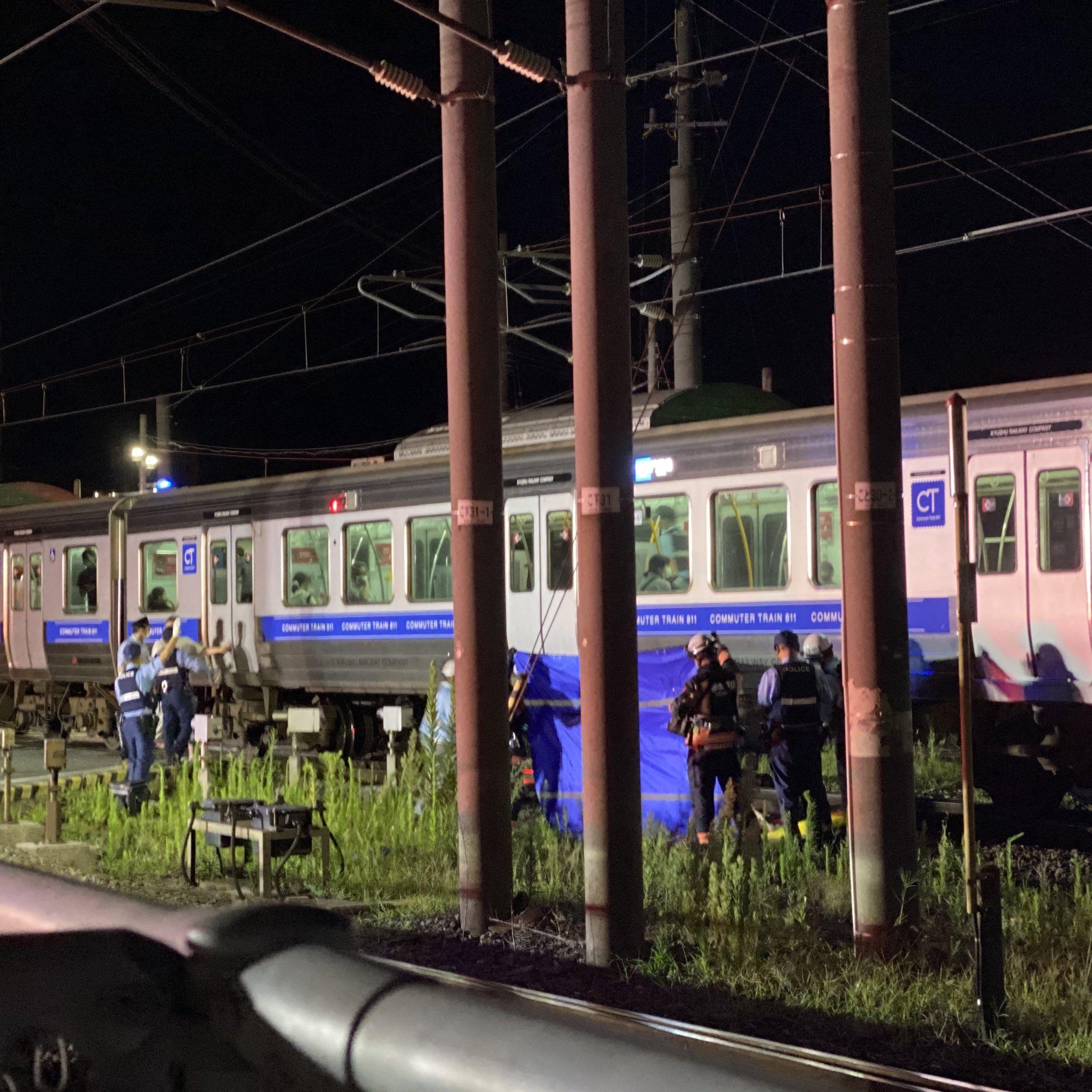 鹿児島本線の福間駅で人身事故が起きた現場の画像