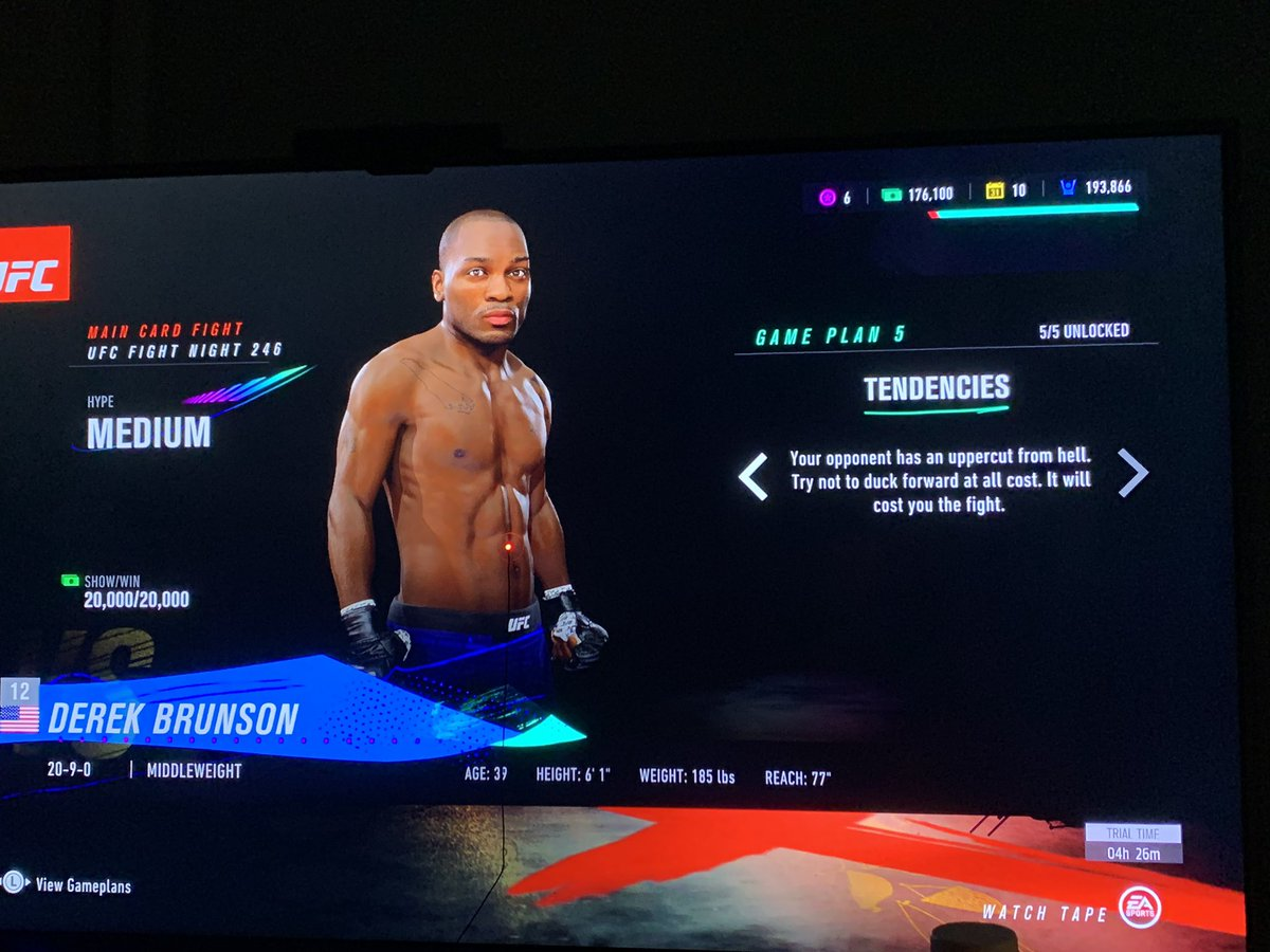 Ya boy @DerekBrunson looks dope as hell on @EASPORTSUFC 4! FYI hes my next fight and i have a feeling ima lose 😂 https://t.co/tyc9uSiqnl