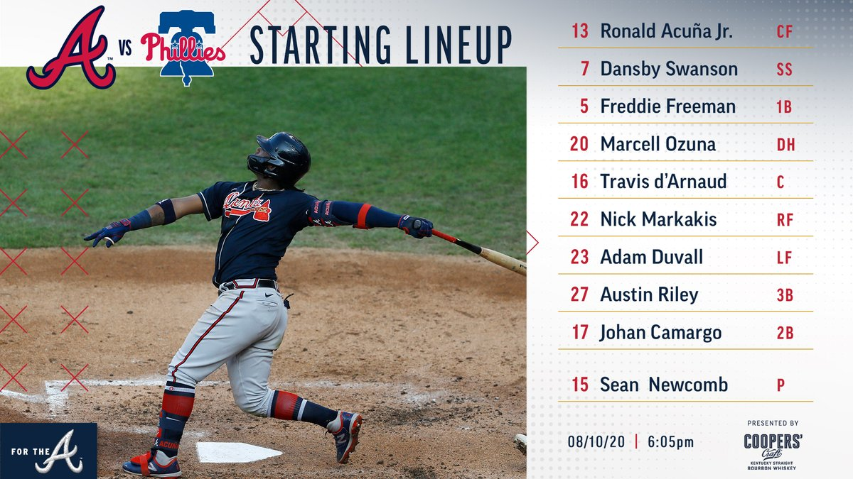 First pitch at 6:05 ET tonight as the #Braves go for another series win! #ForTheA