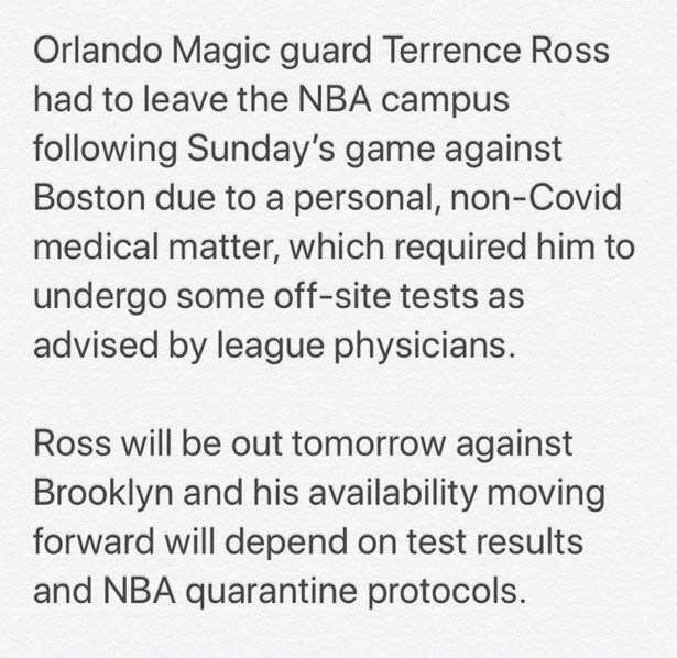 Orlando's Terrence Ross leaves The Bubble for off-site testing https://t.co/8LuNfUIE6r