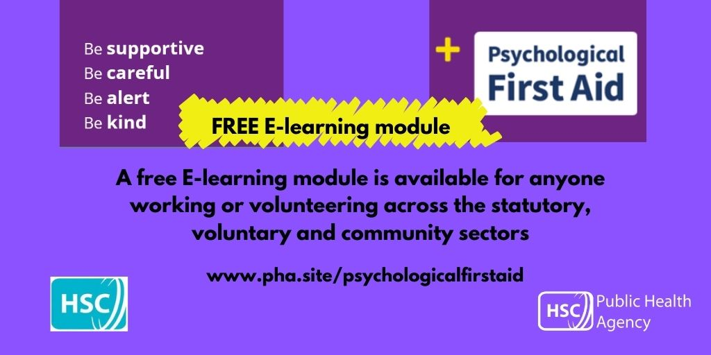 Free Psychological First Aid E-learning module is still available for anyone working or volunteering across the statutory, voluntary and community sectors.  For module details visit https://t.co/4k4aIQtdoA https://t.co/8oZ8GrcRdF