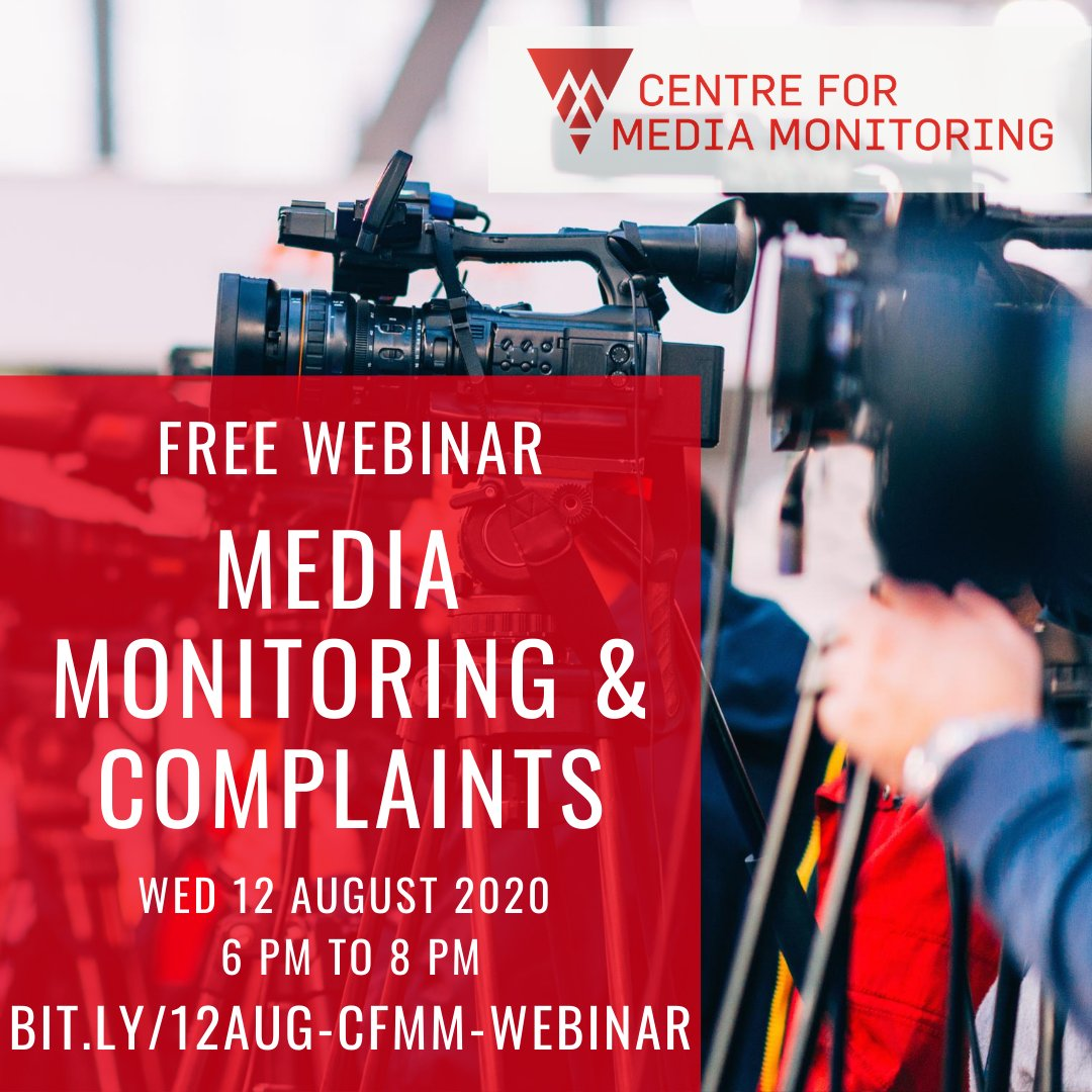 📢Intro to Media Monitoring & Complaints 📢 FREE Webinar, this Wednesday 12 August at 6 PM. Tired of seeing Muslims and Islam misrepresented? Learn how CfMM makes complaints, gets corrections, & makes a difference. And how YOU can too! Book now: bit.ly/12Aug-CfMM-Web…