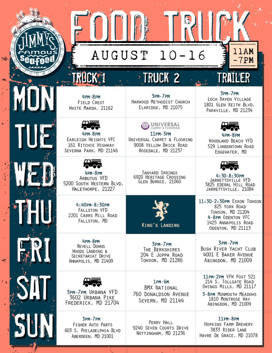 🚚 Check out this week's food truck schedule, and be sure to visit the location nearest you! 🦀