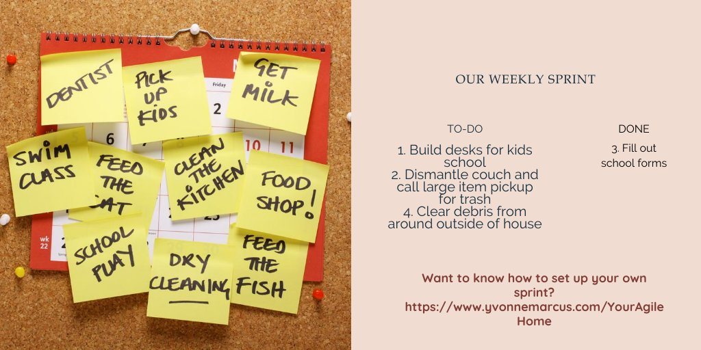 Here is our sprint goals for this 2 week period. As you'll notice, we've already completed 1 thing. Are you ready for your Agile Transformation? #Agile #Scrum #ProjectManagement #HomeManagement #YourAgileHome #Parenting #ParentingTips #ParentingInaPandemic #BackToSchool2020pic.twitter.com/lA5yCHlmuT