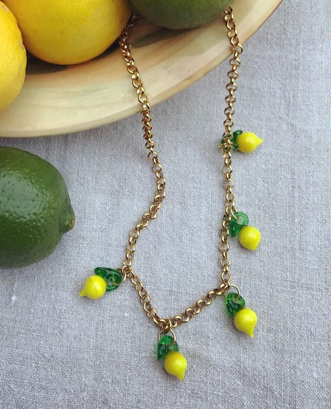 Handmade Lampwork Glass Necklace w Beaded Chain