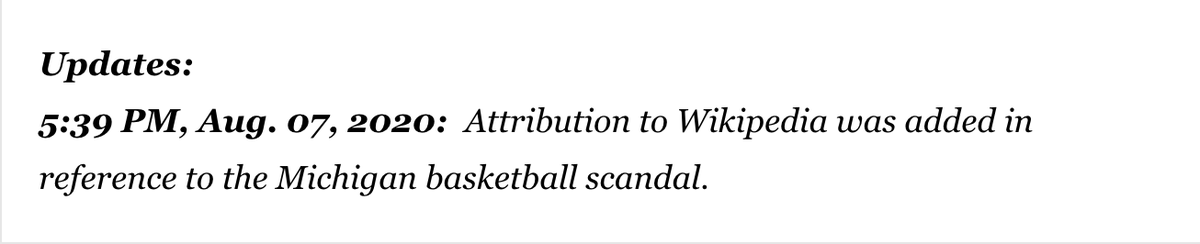 At least eight columns by LA Times sports columnist Arash Markazi were quietly updated on Friday night.