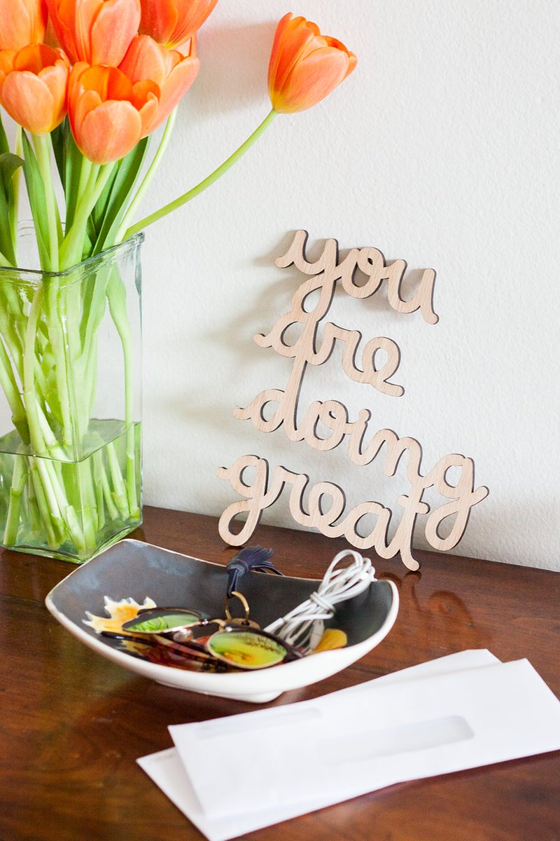 Repeat after me: you are doing great! Might seem a little silly to some, but right now there's no such thing as an overload of good vibes. Pick up this  @heyitsmatthew piece to keep them coming. https://t.co/6HbzfKCiq5 https://t.co/OBtQ8RwtaP