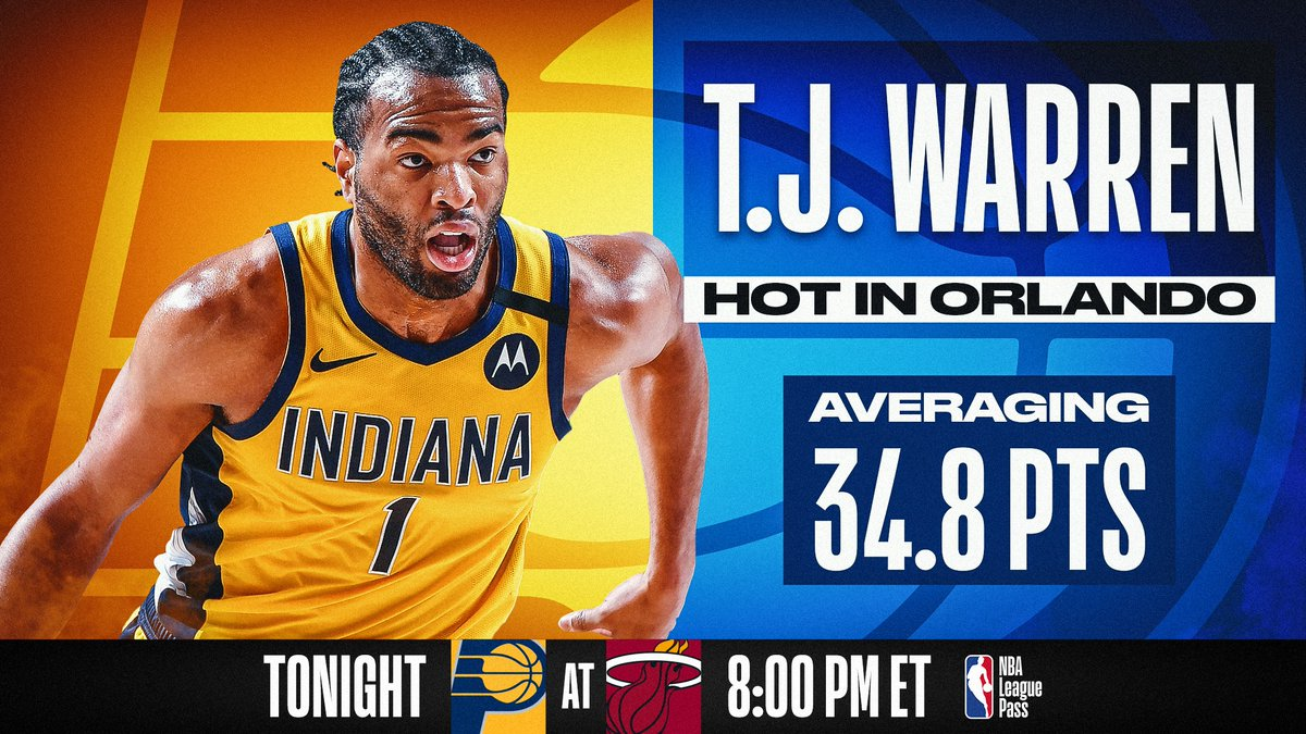T.J. Warren in Orlando 🔥  @TonyWarrenJr and the #5 in the East @Pacers take on the #4 in the East @MiamiHEAT at 8:00 PM ET on NBA League Pass! #WholeNewGame  📲💻: https://t.co/3boM6jAAp3 https://t.co/aUtGG3rcK4