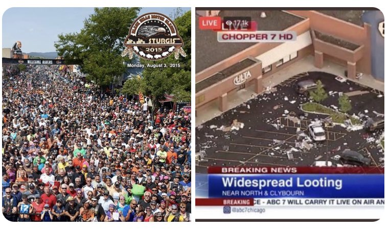 @realDonaldTrump #BREAKING Weekend Update Sturgis: 250,000 people, no murders, no shootings, no looting, no cops assaulted, picked up own trash Chicago: Multiple murders, widespread looting for 5 hours along the Magnificent Mile, numerous cops attacked