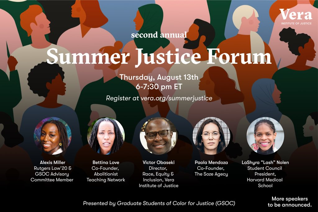 Twitter fam! I'm so excited to share that I'll be joining the @verainstitute for their Summer Justice Forum to discuss social justice, civic engagement, and the work ahead of us. Register here at vera.org/summerjustice. Hope to see y'all there!✊🏾 #factsonly