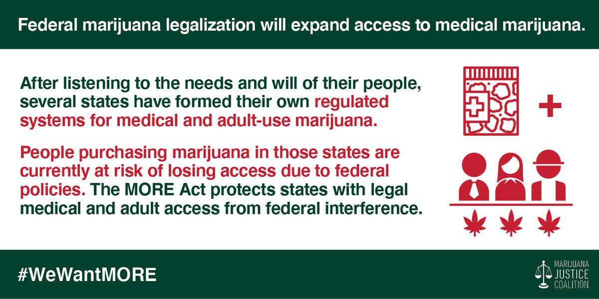 The MORE Act will reduce interaction with the criminal legal system & increase access to #medicalmarijuana patients. Let's improve #publichealth options for all by ending federal marijuana prohibition: https://t.co/GKcOMX5z98 cc: @FrankPallone #WeWantMORE #MarijuanaJustice https://t.co/HXR7xb06vV
