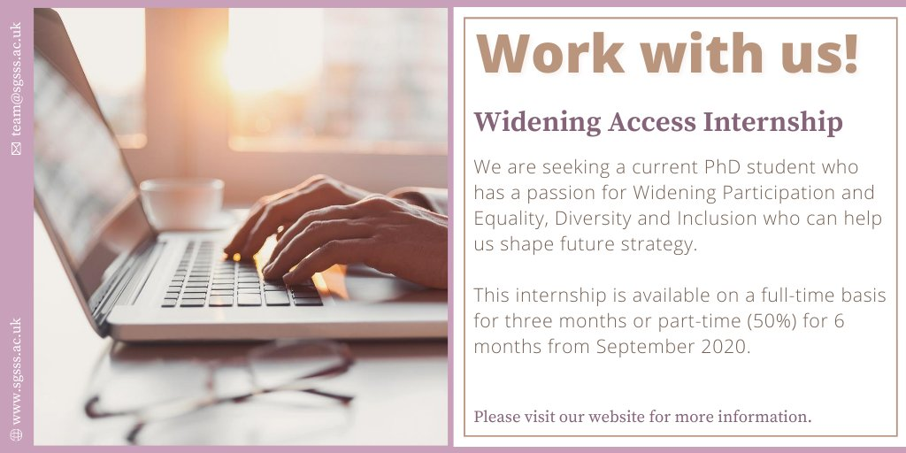 This week we're highlighting the exciting internship opportunities available with SGSSS. The Widening Access Internship is for a PhD student with a passion for Widening Participation and Equality, Diversity & Inclusion. Read more here! 👉 https://t.co/V2Z6BU1odt #phdchat #phdlife https://t.co/phEvCGZa4m