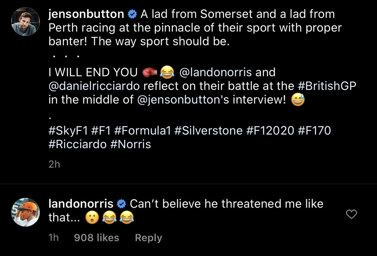 Check out @LandoNorris' comment on @JensonButton's Instagram post 😂⬇️  #L4NDO #LN4 #F1 https://t.co/vg9YJiUUfx
