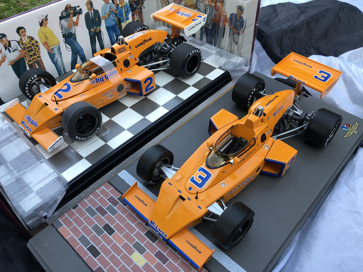 Finally got the 1976 #Indy500 winning @McLarenF1 M16B of Johnny Rutherford to join the 1974 winner. 🧡 https://t.co/XR0X360hQ5