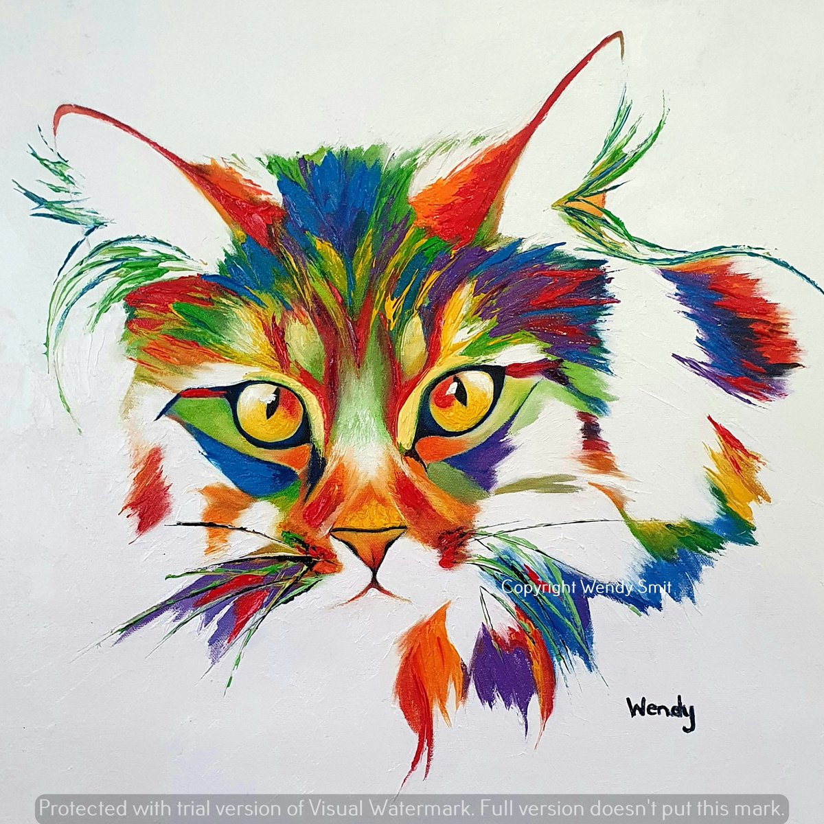I had a number of requests for a Cat to be added to my 'paint bomb' series. My website: wendysart.co.za