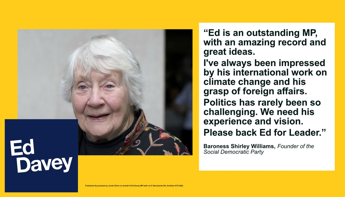 Shirley Williams is a hero of mine. As a transformative education secretary; a founder of the SDP; and a Parliamentarian who tirelessly defended pro-European values Shirley has repeatedly broken the political mould for the better. I'm honoured to have her support #VoteEd
