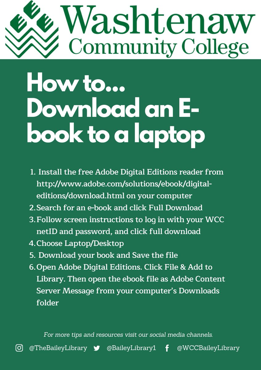 Today's #techtip is how to download an e-book to a laptop, so you can get your reading done anytime & anywhere!   #wcckeepsgoingpic.twitter.com/kE9JOAT8DZ