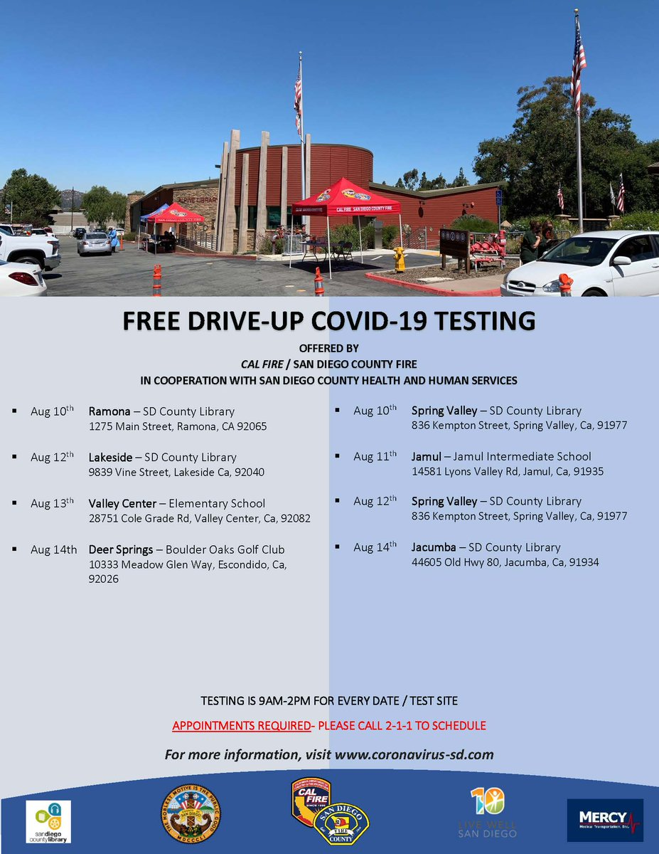 Cal Fire San Diego County Fire On Twitter Calfiresandiego In Cooperation With Sdcountyhhsa Will Continue Offering Free Covid 19 Testing At The Locations Listing In The Attached Image Please Contact 211sd To