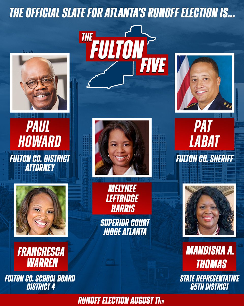 #ATL the official slate for tomorrow's runoff election is #TheFultonFive PAT LABAT, PAUL HOWARD, MELYNEE LEFTRIDGE HARRIS, FRANCHESCA WARREN AND MANDISHA THOMAS. WRITE THESE NAMES DOWN! Save this photo. #VOTE #ATLANTA