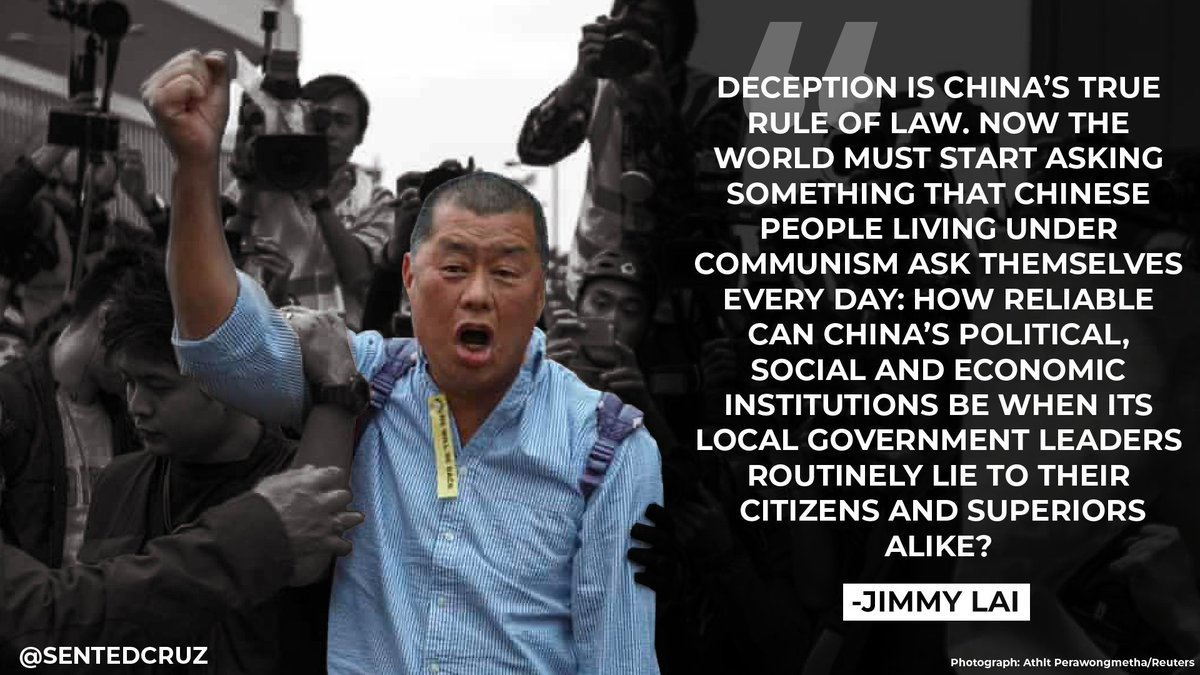 The Chinese Communist Party is terrified of dissidents like Jimmy Lai who have devoted their lives to shining a bright light on #China's authoritarian regime. I support Jimmy & all those fighting for freedom and pray he is returned safely to his family. https://twitter.com/politico/status/1292800442066403328…pic.twitter.com/pYo4aumVeI