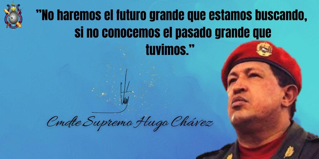 """""""No haremos el futuro grande que estamos buscando, si no conocemos el pasado grande que tuvimos."""" Cmdte Supremo Hugo Chávez #EjercitoBolivarianoBicentenario  #FlexibilizacionParcialConsciente  #FANB https://t.co/fmtaelGMZb"""