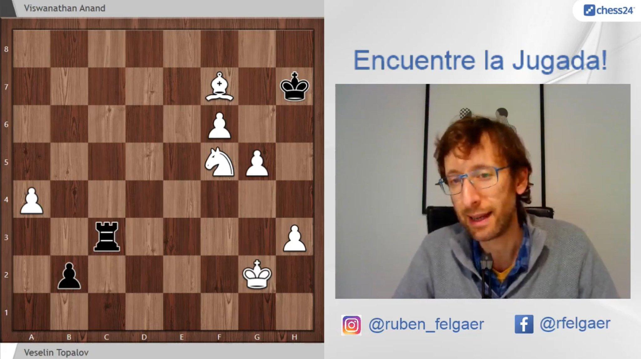 "chess24.es on Twitter: ""Rubén Felgaer nos enseñó esta fantástica victoria de Topalov ante Anand https://t.co/B7LF0LwkDT… """