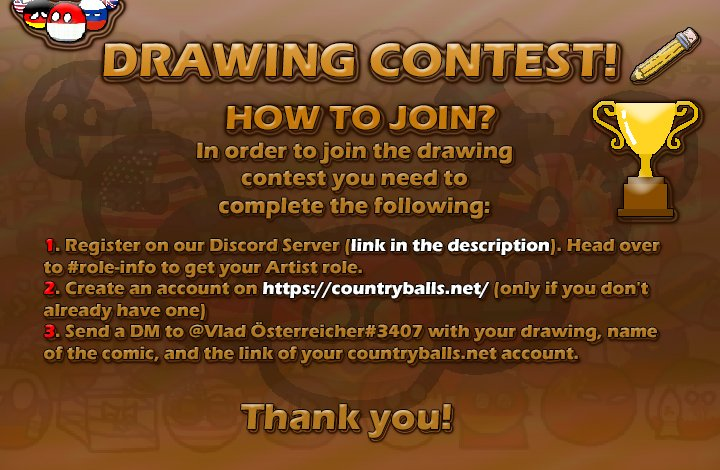 DRAWING CONTEST!   Don't forget to participate!  - Join our Discord Server here https://discord.com/invite/zUkTUYe  - Create your account in https://countryballs.net/   LUCK #Country #Balls #CountryBalls #CountryBalls2020 #Country2020 #Balls2020 #Countries #Contest #Draw #DrawingContestpic.twitter.com/On2I83IuW7