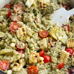 Image for the Tweet beginning: Orzo with Artichoke Pesto &