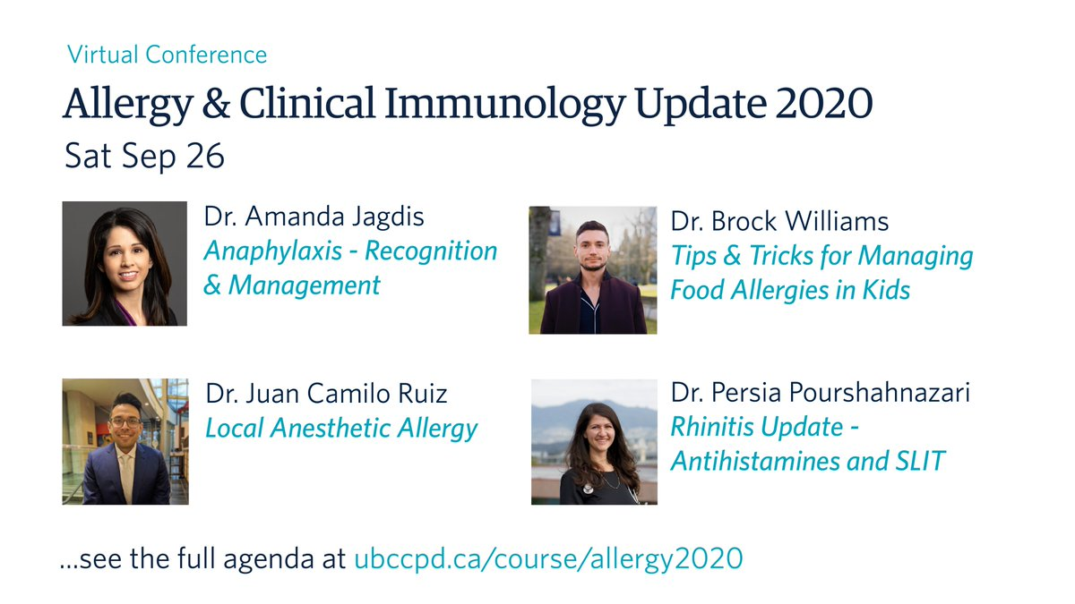 What's new in Allergy & Clinical Immunology? Find out at our #virtual conference with enhanced networking and engaging features. #CPDAllergy #MedEd #Allergy #Immunology   Full agenda & registration: https://ubccpd.ca/course/allergy2020…pic.twitter.com/GkiVXXakGh