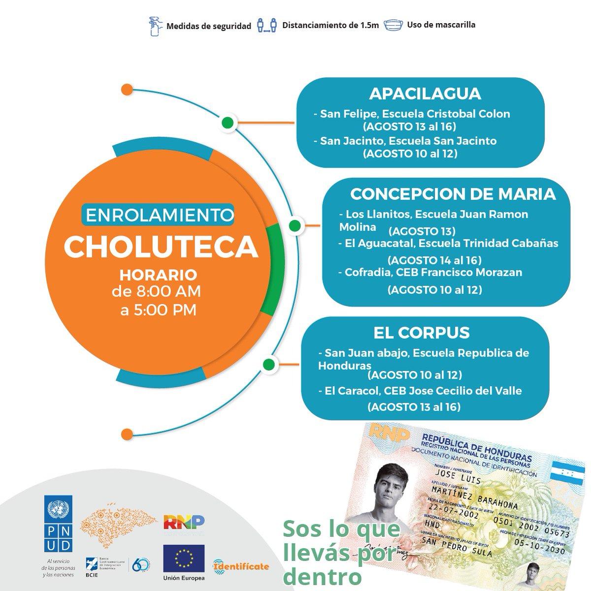 Choluteca #Identifícate ya estamos listos en los siguientes lugares solicita tu nuevo #DNI.pic.twitter.com/yVZBW4c954