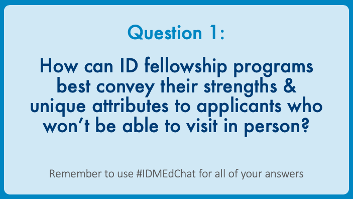 1/ Here is the summary of the #IDMEdChat discussion for Question 1, which included thoughts on what could be done before, during, & after the interview day. #IDMedEd