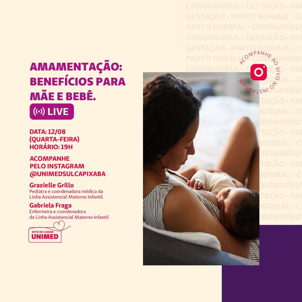 Na live no Instagram da próxima quarta-feira (12/08), às 19h, vamos falar sobre os benefícios da amamentação para mãe e bebê, com a pediatra Grazielle Grillo . Coloque na sua agenda e marque uma amiga que também está grávida ou lactante. https://t.co/rlqKCu6rk7