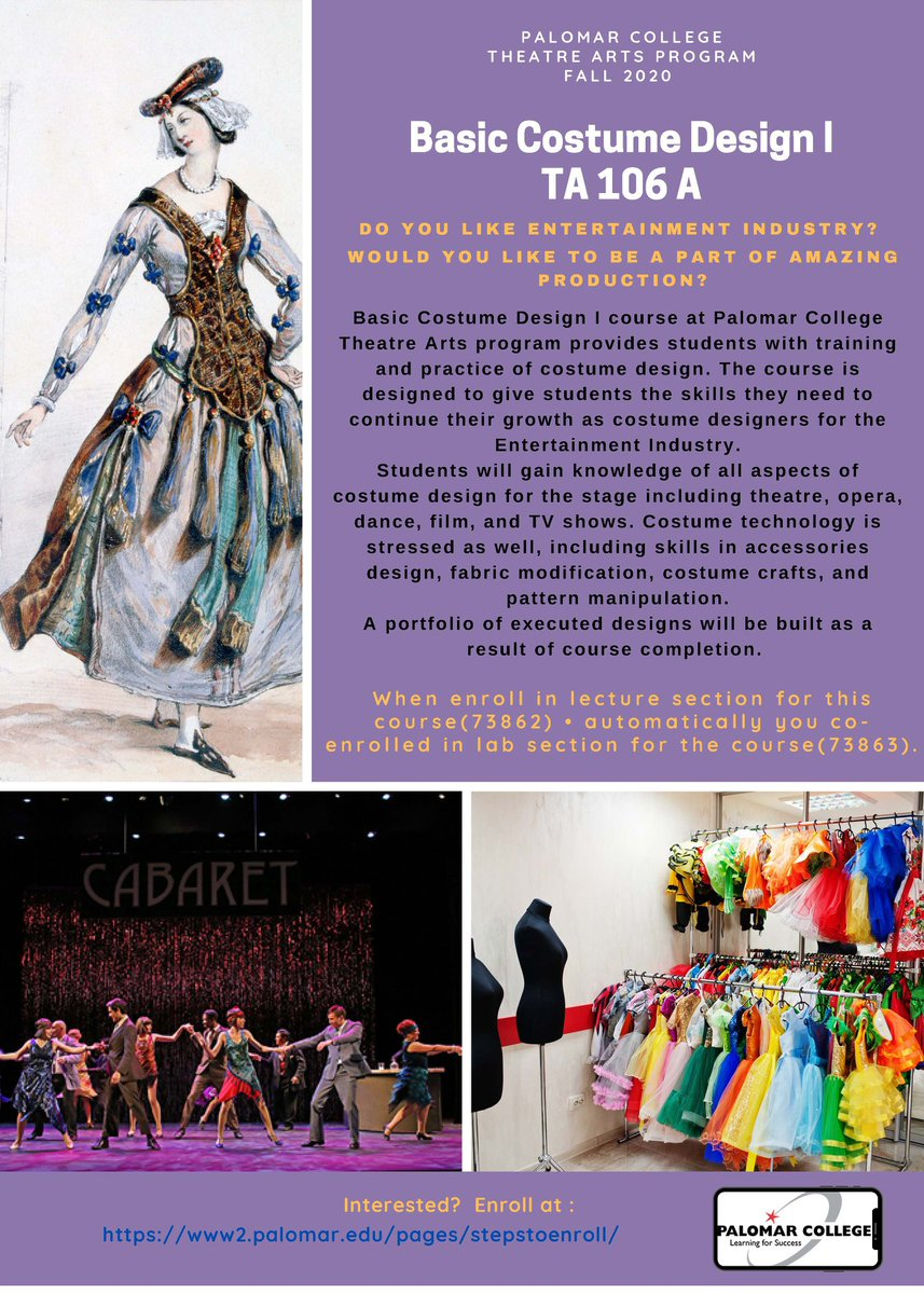 Palomar College On Twitter Basic Costume Design I At Palomar College Theatre Arts Provides Students With Training And Practice Of Costume Design The Course Is Designed To Give Students The Skills They