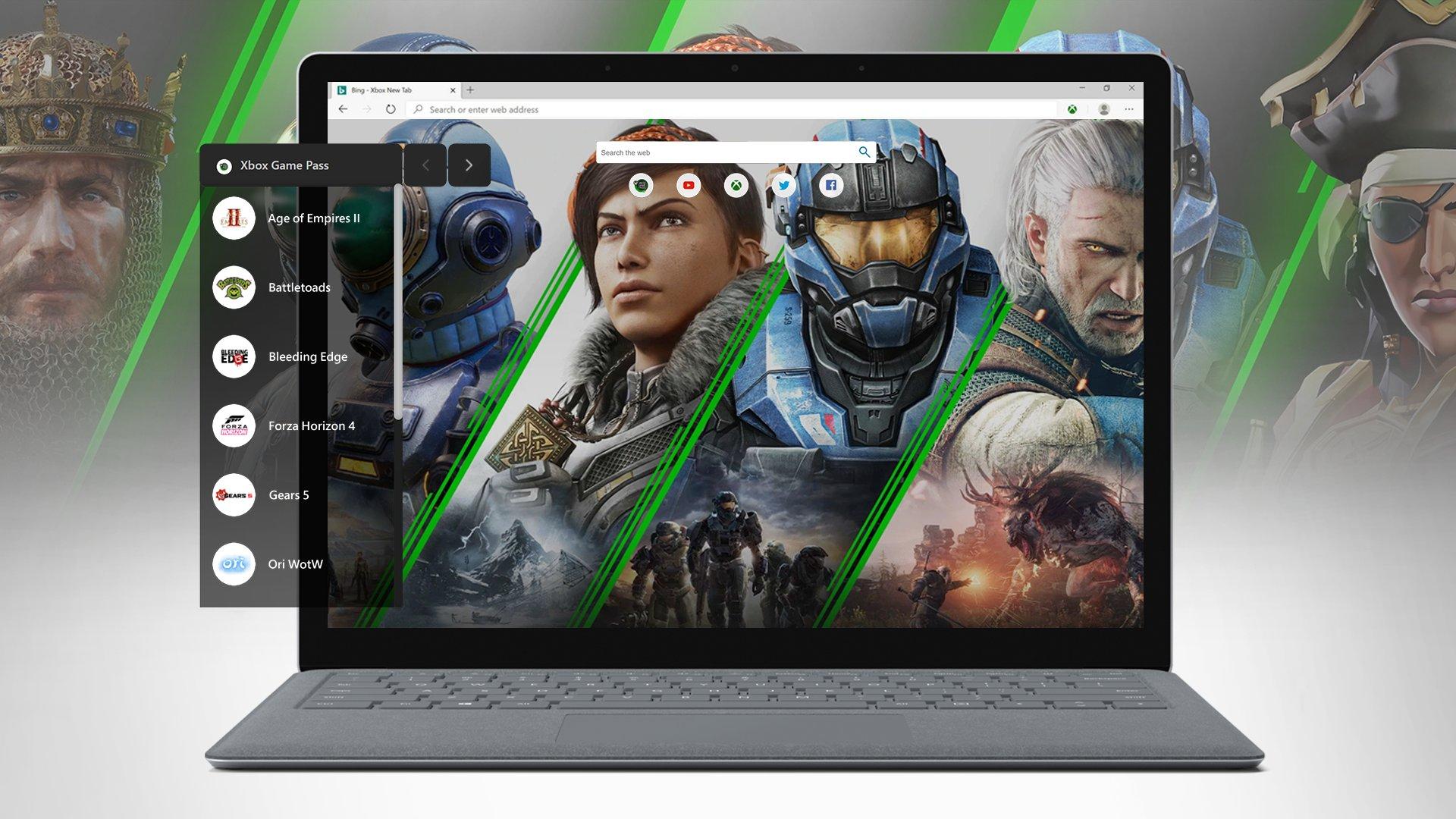Laptop con Xbox Game Pass PC abierto, se ve la barra de ayuda y algunos personajes de juegos disponibles en el servicio de fondo.