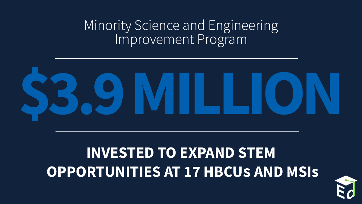 This Admin is committed to the success of #HBCUs, MSIs and the students they serve. Today's grant awards will help 17 of these institutions expand #STEM offerings so their students are prepared for the in-demand jobs of today & tomorrow.  Learn more here: https://t.co/iAVgE2r05V https://t.co/Go2WNDbDJf