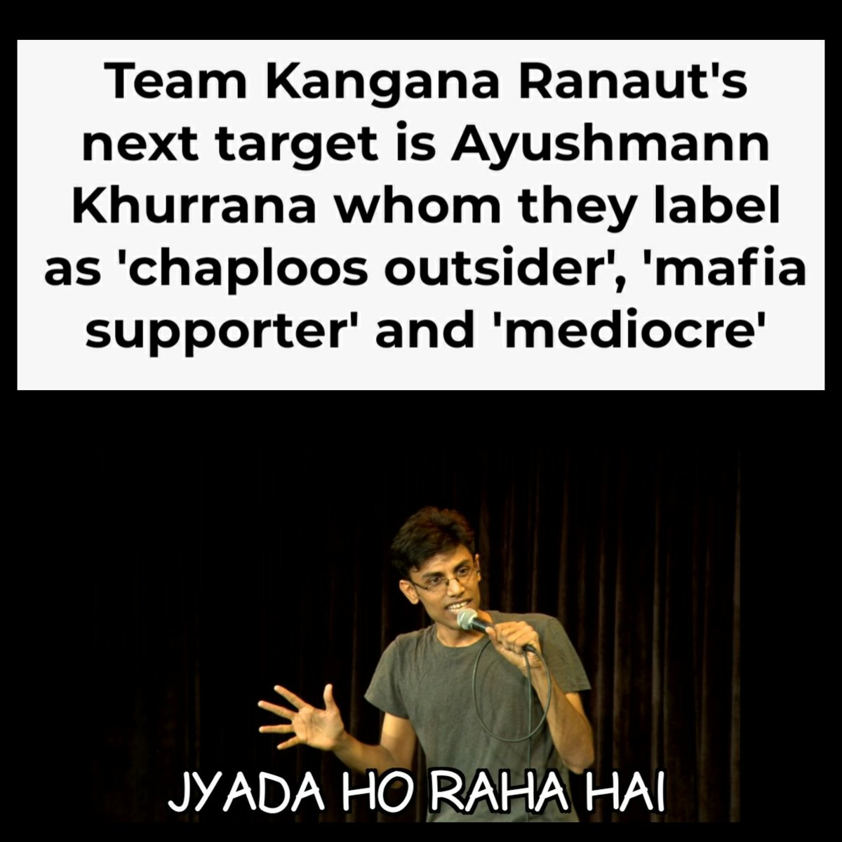 """Why @KanganaTeam always target a Self made Celebrities  @ayushmannk is not at all """"mediocre"""" pic.twitter.com/0SNXVhJgwt"""
