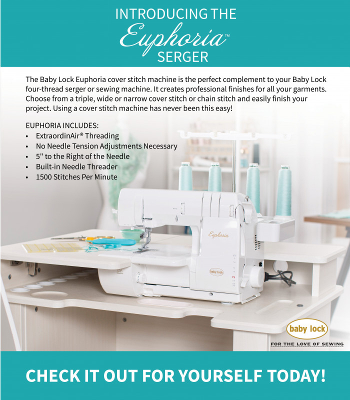 Introducing the Baby Lock Euphoria Cover Stitch machine Call or come into @quilters_apprentice to get yours today!  #babylock #serger #coverstitch #euphoria #sewing @quilters_apprentice https://t.co/9CLt57OPTU